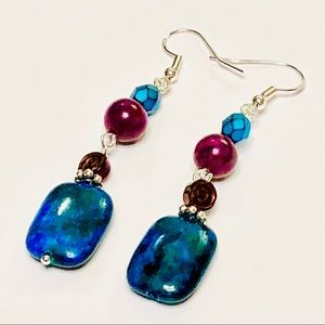 Gorgeous Chrysocolla & Purple Fossil Earrings